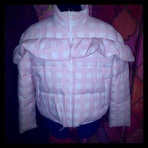 White/ pink ruffled puffer /gingham print